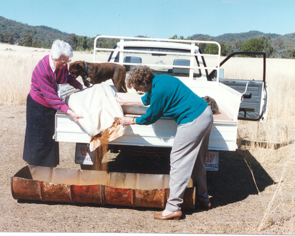 Sr St Jude & Mrs Pauline Noyce on the road with a truck for Country Care Link