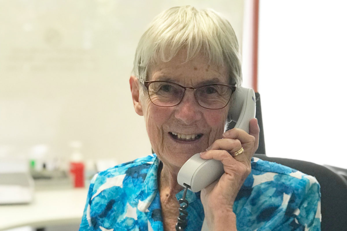 Sr Jan on the phone for Country Care Link